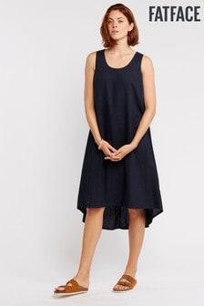 FatFace Blue Lola Linen Blend Dress