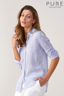 Pure Collection Purple Relaxed Washed Silk Blouse