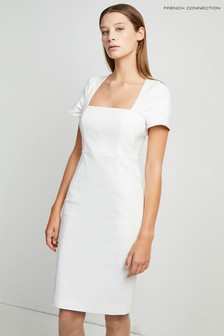 French Connection White Glass Stretch Cap Sleeve Dress