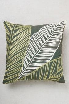 Overscale Embroidery Leaf Cushion