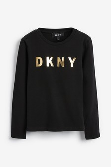 DKNY Black Long Sleeve Logo T-Shirt