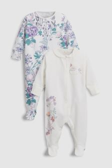 Floral Embroidery Sleepsuits Two Pack (0mths-2yrs)