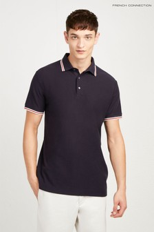 French Connection Blue Textured Dobby Jersey Relaxed Fit Polo