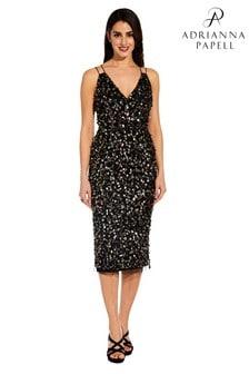 Adrianna Papell Black Beaded Short Dress