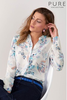 Pure Collection White Relaxed Washed Silk Blouse