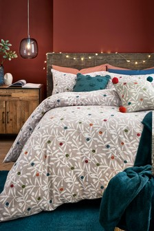 Brushed Cotton Berry Sprig Duvet Cover and Pillowcase Set