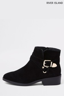 River Island Black Zip Up Buckle Ankle Boot