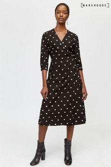 Warehouse Black Spot Print Midi Dress