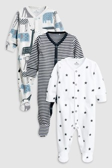 Animal Sleepsuits Three Pack (0mths-2yrs)