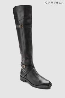 Carvela Black Leather Viv Elastic Panel Over The Knee Boot