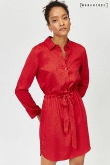 Warehouse Red Letter Print Shirt Dress