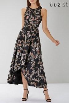 Coast Natural Kath Clipped Jacquard Dress