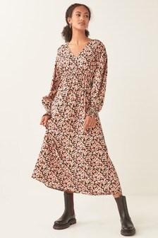 Volume Sleeve Midi Dress