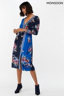 Monsoon Ladies Blue Delilah Print Wrap Dress