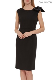 Gina Bacconi Black Kailla Scuba Crepe And Satin Bow Dress