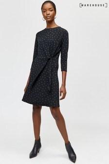 Warehouse Black Polka Dot Tie Front Dress