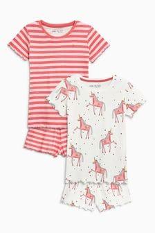Unicorn/Stripe Short Pyjamas Two Pack (3-16yrs)