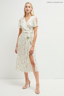 9fdd2634ed4 French Connection White Roseau Meadow Jersey Midi Dress