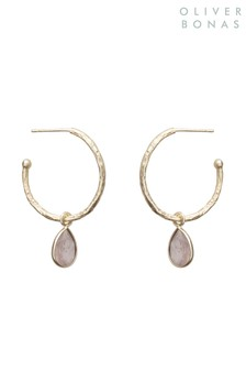 Oliver Bonas Maya Rose Quartz Gold Plated Hoop Earrings