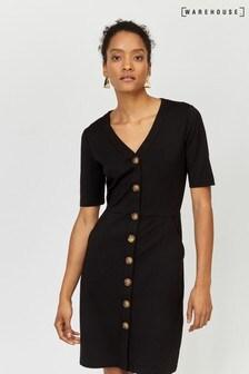 Warehouse Black Button Through Pencil Dress