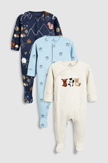 Animal Embroidered Sleepsuits Three Pack (0mths-2yrs)