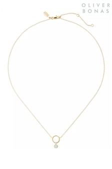 Oliver Bonas Gold Tone Juhl Round Loop Necklace