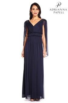 Adrianna Papell Midnight Blue Tulle Long Dress