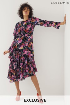 Mix/Natasha Zinko Floral Print Ruffle Dress