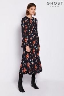 Ghost London Daisy Mae Black Floral Sophia Dress