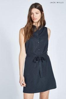 Jack Wills Navy Ruckhall Sleeveless Shirt Dress
