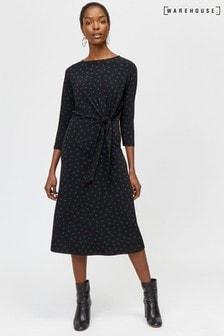 Warehouse Black Polka Dot Tie Front Midi Dress