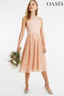 Oasis Pink Satin Bodice Lace Midi Dress