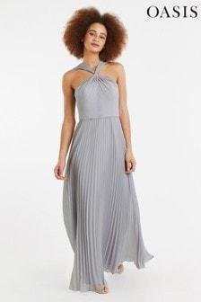 Oasis Grey Twist Neck Pleat Maxi Dress