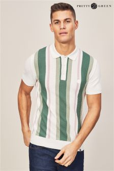 Pretty Green White Langworthy Knitted Polo