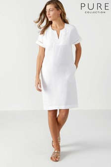 Pure Collection Laundered Linen Lace Trim Dress