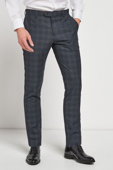 Slim Fit Check Suit: Trouser