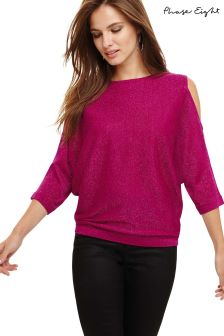 Phase Eight Purple Shimmer Cold Shoulder Knitted Top