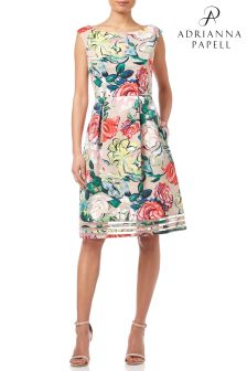 Adrianna Papell Green Petite Floral Print Dress