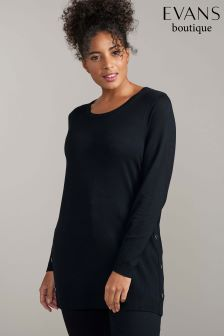 Evans Black Popper Side Jumper