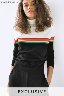Mix/Madeleine Thompson Rainbow Stripe Roll Neck