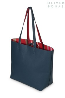 Oliver Bonas Blue Olivia Stripe Reversible Tote Bag