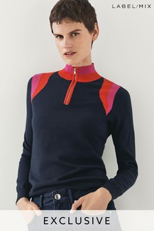 Mix/Madeleine Thompson Colourblock Zip Neck Knit