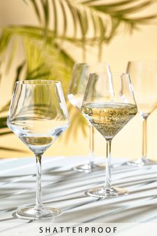 Set of 4 Faceted Plastic Wine Glasses