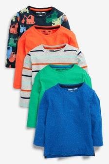 Truck Long Sleeve T-Shirt Five Pack (3mths-7yrs)