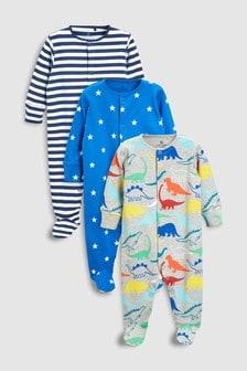 Dino Star Sleepsuits Three Pack (0mths-2yrs)