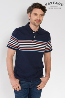 FatFace Dark Ink Organic Cotton Kent Stripe Polo