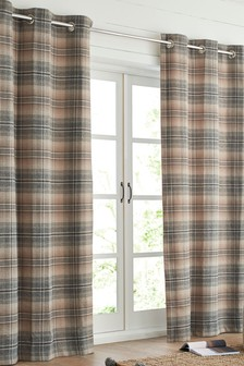 Nevis Woven Check Eyelet Lined Curtains