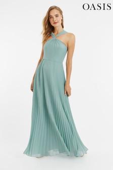 Oasis Green Twist Neck Pleat Maxi Dress