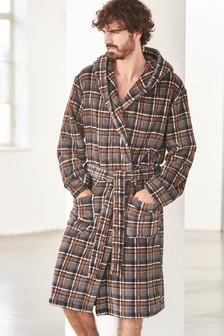 Check Fleece Dressing Gown