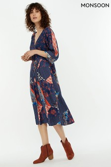 Monsoon Ladies Blue Dakota Patch Print Midi Dress